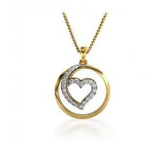 Natural Diamond Heart Pendant 0.17 CT / 1.80 gm Gold