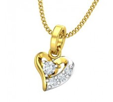 Natural Diamond Heart Pendant 0.09 CT / 0.70 gm Gold