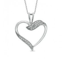 Natural Diamond Heart Pendant 0.18 CT / 2.50 gm Gold
