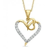 Natural Diamond Heart Pendant 0.27 CT / 2.35 gm Gold