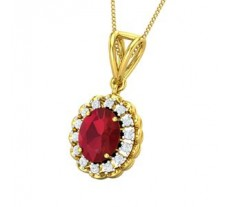 Natural Diamond & Gemstone Pendant 2.17 CT / 3.50 gm Gold