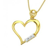 Natural Diamond Heart Pendant 0.13 CT / 1.86 gm Gold