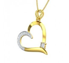Natural Diamond Heart Pendant 0.16 CT / 1.80 gm Gold