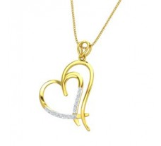 Natural Diamond Heart Pendant 0.16 CT / 2.20 gm Gold