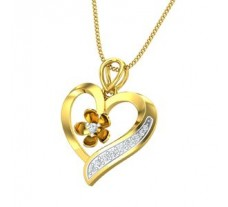 Natural Diamond Heart Pendant 0.12 CT / 2.30 gm Gold
