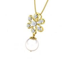 Natural Diamond Pearl Pendant 1.26 CT / 1.35 gm Gold