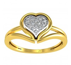 Natural Diamond Heart Ring 0.07 CT / 2.50 gm Gold