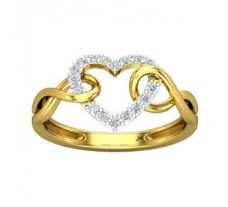 Natural Diamond Heart Ring 0.20 CT / 2.65 gm Gold