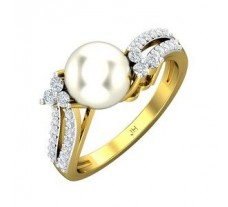 Natural Diamond Pearl Ring 0.33 CT / 3.31 gm Gold