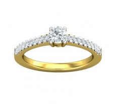 PreSet Natural Solitaire Diamond Ring 0.46 CT / 2.50 gm Gold