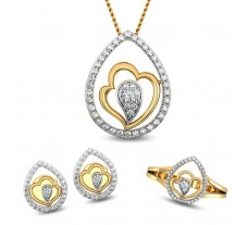 Natural Diamond Pendant Full Set - 0.64 CT / 8.21 gm Gold