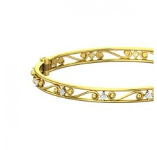 Natural Diamond Bangles 0.54 CT / 14.89 gm Gold
