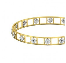 Natural Diamond Bangles 1.28 CT / 10.97  gm Gold