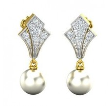 Diamond Pearl Earrings 0.42 CT / 4.17 gm Gold