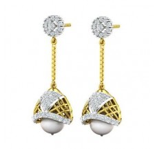 Diamond Pearl Earrings 9.32 CT / 5.64 gm Gold