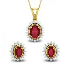 Diamond & Gemstone Pendant Half Set - 4.72 CT / 6.49 gm Gold