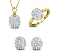 Diamond Pendant Set -FullSet - 1.64 CT / 6.60 gm Gold