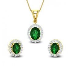 Diamond & Gemstone Pendant Half Set - 3.73 CT / 6.05 gm Gold