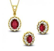 Diamond & Gemstone Pendant Half Set - 4.49 CT / 7.50 gm Gold