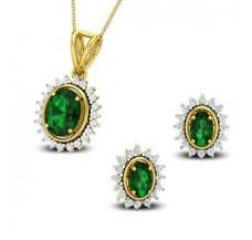 Diamond & Gemstone Pendant Half Set - 3.78 CT / 6.49 gm Gold