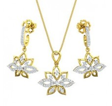 Diamond Pendant Half Set - 0.96 CT / 6.75 gm Gold