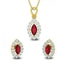 Diamond & Gemstone Pendant Half Set - 1.95 CT / 4.30 gm Gold