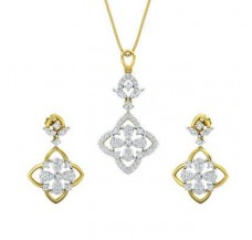 Diamond Pendant Half Set - 1.24 CT / 10.24 gm Gold