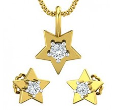 Diamond Pendant Half Set - 0.19 CT / 2.95 gm Gold