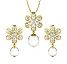 Diamond Pearl Pendant Half Set - 14.31 CT / 4.28 gm Gold