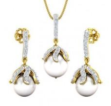 Diamond Pearl Pendant Half Set - 16.10 CT / 4.35 gm Gold