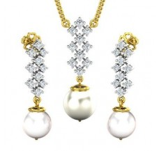 Diamond Pearl Pendant Half Set - 24.78 CT / 4.70 gm Gold