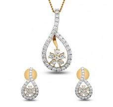 Natural Diamond Pendant Half Set - 1.24 CT / 3.75 gm Gold
