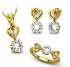 Diamond Pendant Full Set - 0.76 CT / 7.30 gm Gold
