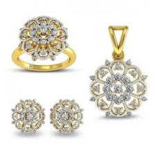 Natural Diamond Pendant Full Set - 1.27 CT / 11.17 gm Gold