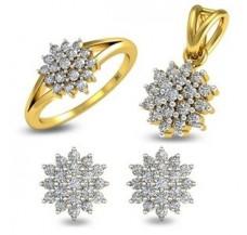 Natural Diamond Pendant Full Set - 0.87 CT / 7.50 gm Gold