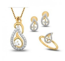 Natural Diamond Pendant Full Set - 0.64 CT / 4.95 gm Gold