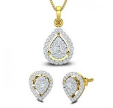Natural Diamond Pendant Set - Half Set - 1.11 CT / 4.58 gm Gold