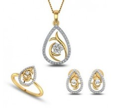 Natural Diamond Pendant Set - Full 0.80 CT / 7.50 gm Gold