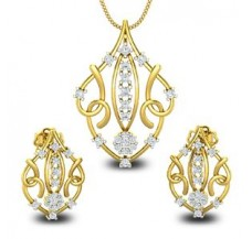 Diamond Pendant Half Set - 0.87 CT / 7.62 gm Gold