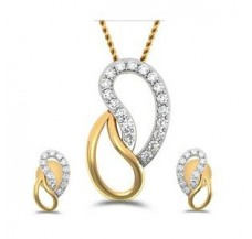 Natural Diamond Pendant Half Set - 0.33 CT / 3.90 gm Gold