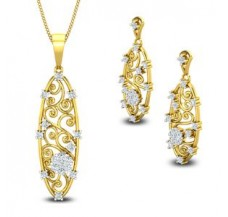 Diamond Pendant Half Set - 0.95 CT / 6.90 gm Gold