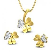 Diamond Pendant Half Set - 0.21 CT / 2.65 gm Gold