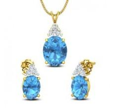 Diamond & Gemstone Pendant Half Set - 6.33 CT / 4.39 gm Gold