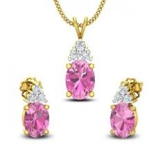 Diamond & Gemstone Pendant Half Set - 2.95 CT / 5.12 gm Gold