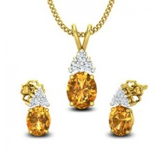 Diamond & Gemstone Pendant Half Set - 0.88 CT / 2.38 gm Gold