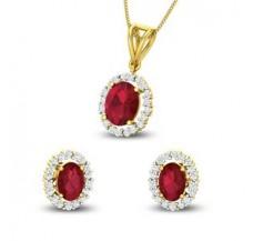 Diamond & Gemstone Pendant Half Set - 4.67 CT / 6.05 gm Gold