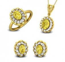 Diamond & Gemstone Pendant FullSet - 5.88 CT / 11.19 gm Gold