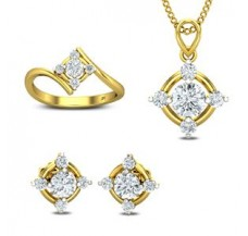 Diamond Pendant Set -Full Set - 1.16 CT / 4.90 gm Gold