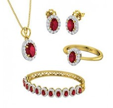 Diamond & Gemstone Set - 17.52 CT / 22.75 gm Gold