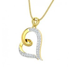 Diamond Heart Pendant 0.18 CT / 1.74 gm Gold